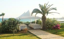 Wedding pavilion on the beach Stock Photo