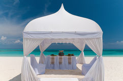 Wedding pavilion at a beautiful beach Royalty Free Stock Image