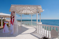 Wedding pavilion by the sea Stock Photography