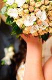 Wedding peach-coloured bouquet Stock Photos