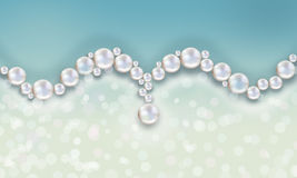 Wedding pearl background loops blue with bokeh Royalty Free Stock Images