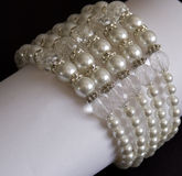 Wedding pearl and crystal necklace Stock Images