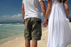 Wedding photo. Photo of just married couple taken on the beach of Indian ocean Royalty Free Stock Images