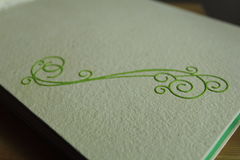 Wedding photo album detail. Detail of handmade wedding photo album Stock Photo