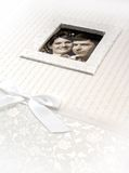 Wedding photo album with framed married couple Royalty Free Stock Photography