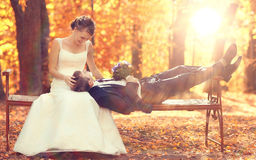 Wedding photo of bride and groom royalty free stock photo