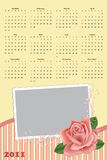 Wedding photo frame with calendar 2011. Wedding photo frame with calendar for year 2011 Stock Photography