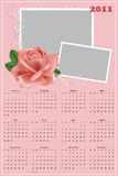 Wedding photo frame with calendar 2011. Wedding photo frame with calendar for year 2011 stock illustration