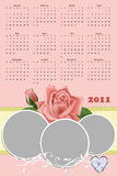 Wedding photo frame with calendar 2011 Royalty Free Stock Photography