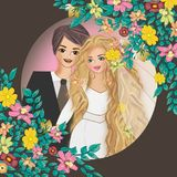 Wedding photo in frame illustrations. Round ornaments Vintage illustrations framefor wedding Stock Photography