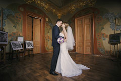 Wedding photo. Newly married and luxurious interiors Stock Photos