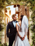 Wedding photo shoot of beautiful newlyweds Royalty Free Stock Photos