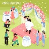 Wedding Photo Shoot Illustration. Beautiful wedding photo shoot and three professional photographers 3d isometric vector illustration Stock Photo