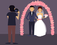 Wedding photographer. Happy groom and bride in white dress. Vector illustration Royalty Free Stock Image