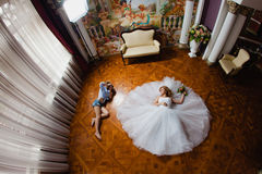 Wedding photographer is taking pictures the bride Stock Photography