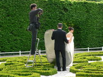 Wedding-Photographer at Work. Walking through the Palast-Garten (Palace-Garden)  in Trier, Germany, i saw this nice arrangement Royalty Free Stock Photography