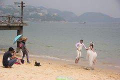 Wedding photography at the seaside Royalty Free Stock Photo