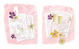 Wedding photography. Two illustrations on the theme of wedding photography: openwork frames for photographs with wedding accessori. Two illustrations on the stock illustration