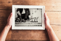 Wedding photos on a table Royalty Free Stock Images