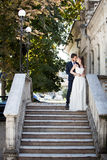 Wedding photosession of bride and groom Stock Images