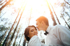 Wedding photosession of young couple near forest Stock Photo