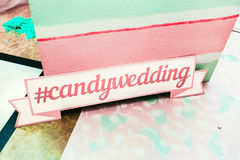Wedding photozone in a candy style. Candywedding. Details Stock Photos
