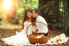 Wedding picnic in park Stock Image