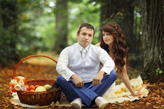 Wedding picnic in park Stock Photo