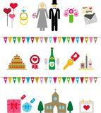 Wedding pictograms Royalty Free Stock Photos