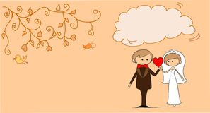 Wedding picture, bride and groom in love,vector Stock Image