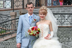 Wedding pictures.Portrait of the bride and groom. Royalty Free Stock Photography
