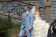 Wedding pictures. Portrait of the bride and groom. Outside Royalty Free Stock Images