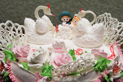 Wedding pie. Beautiful wedding a pie with white swans Royalty Free Stock Images