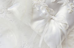 Wedding pillow and feathers Stock Image
