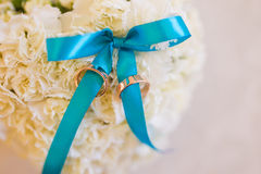 Wedding pillow. And ring closeup Stock Photography
