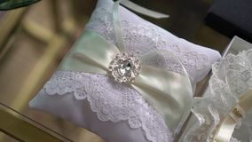 Wedding pillow for rings. Decorated stock video footage