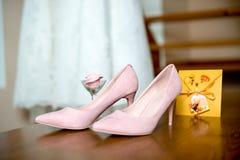 Wedding pink bridesmaid shoes. Wedding accessories. Wedding details. Wedding accessories. Wedding pink bridesmaid shoes. Wedding details Stock Photography