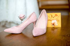 Wedding pink bridesmaid shoes. Wedding accessories. Wedding details. Wedding accessories. Wedding pink bridesmaid shoes. Wedding details Stock Image