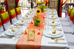 Wedding. Place on the restaurant Royalty Free Stock Images