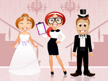 Wedding planner with bride and groom Royalty Free Stock Images