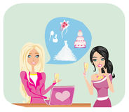 Wedding planner and bride Stock Photos