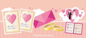 Wedding Planning Design Flat Fashion Stock Images