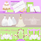 Wedding Planning Dress and Decor Concept Stock Images