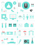 Wedding Planning Icons and Infographic Elements Set Royalty Free Stock Photography