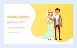 Wedding Planning Bride and Groom Engagement Vector stock illustration