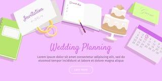 Wedding Planning Web Banner. Preparations. Vector Stock Image