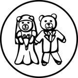 Wedding plush bears vector illustration Royalty Free Stock Photos