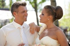 Wedding portrait of attractive happy couple Stock Photography
