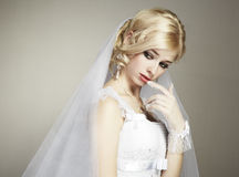 Wedding portrait of beautiful young bride Royalty Free Stock Photography