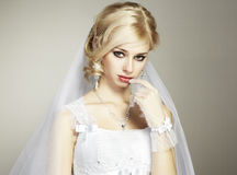 Wedding portrait of beautiful young bride Royalty Free Stock Photos
